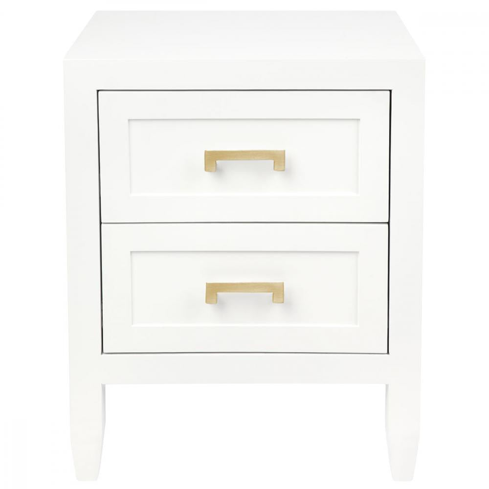 White bedside with 2 drawers