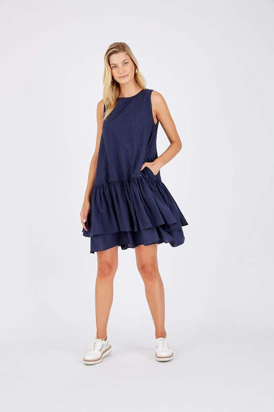Tullie Dress in Dobby - navy