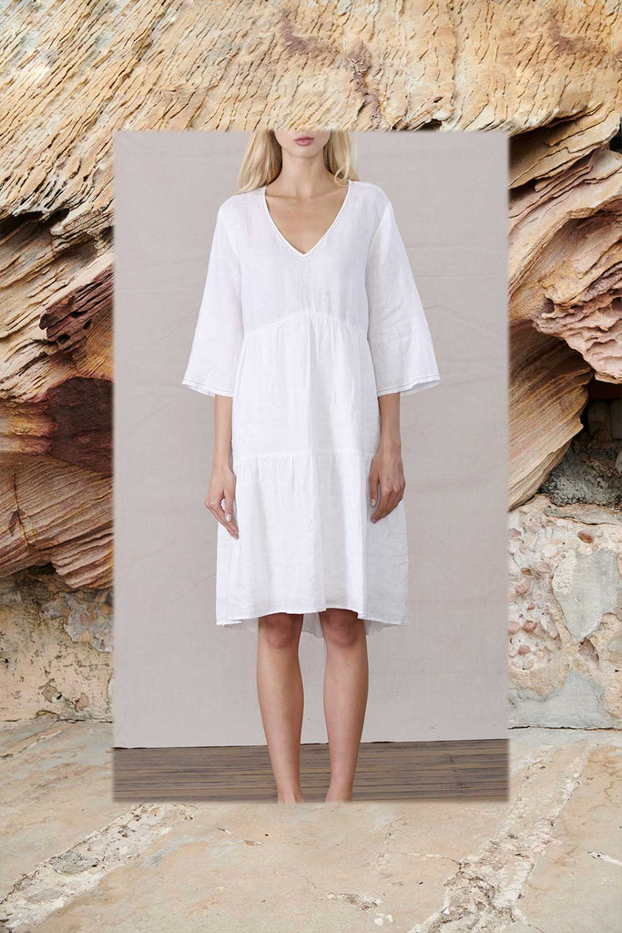 white long sleeve linen dress - free shipping