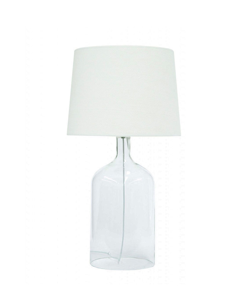 MRD Clear glass bell lamp with white shade, available at the white place, orange nsw