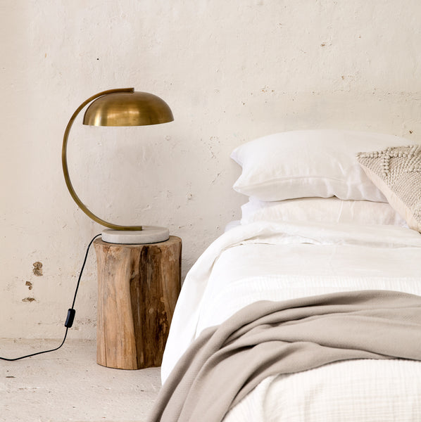 brass bedside lamp - available at the white place, orange nsw
