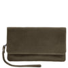olive leather wallet - free gift wrapping