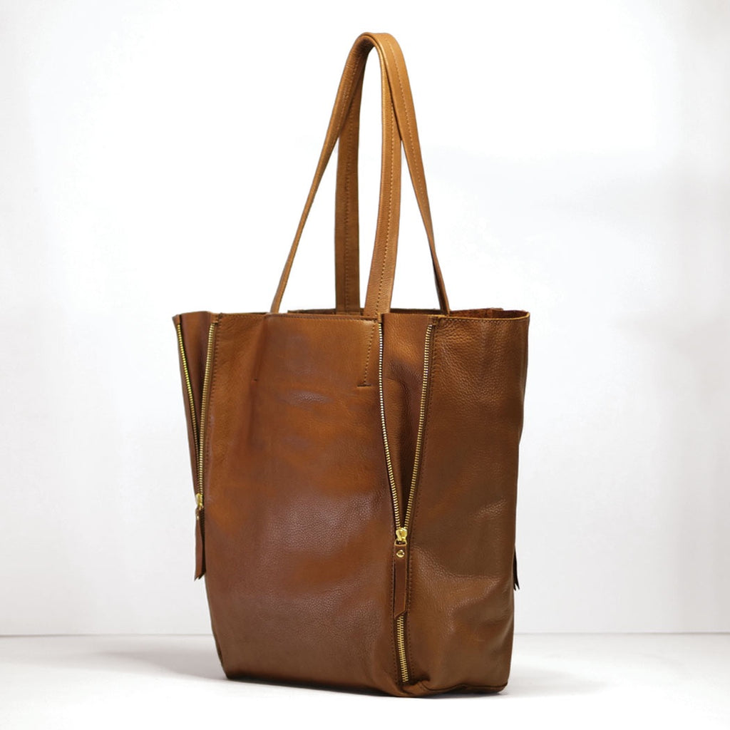 rose & Lyle leather zip tote, in tan and black - free shipping in australia