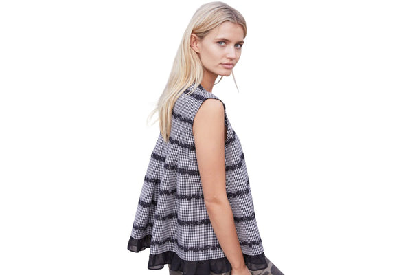 M A Dainty Jaco check top is a combination of Polyster/Cotton/Elastane with a Silk trim. available at the white place, orange nsw -  free shipping within australia