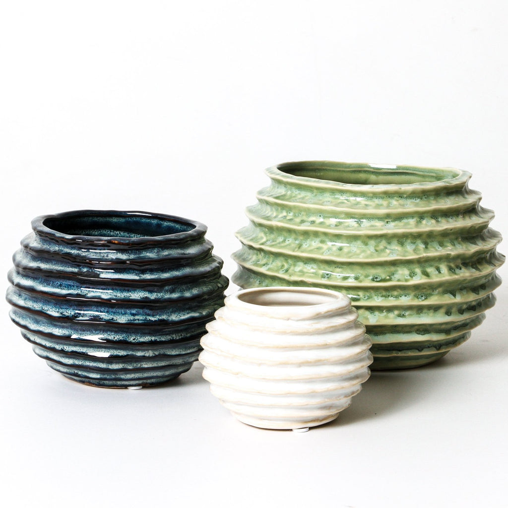 Coloured coiled pots available at the white place, orange nsw
