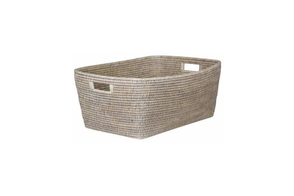 Large White Wash Rattan Basket