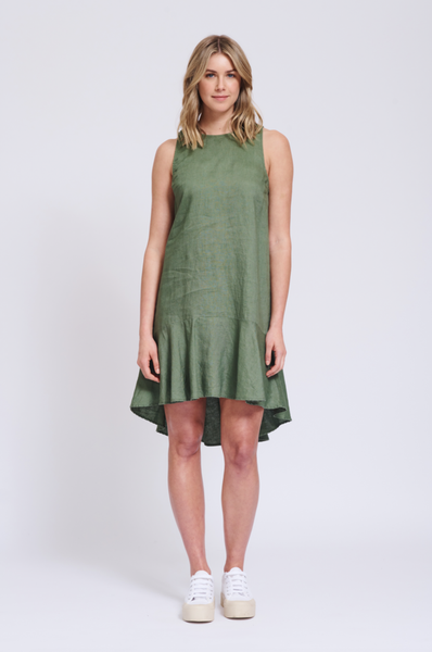 Alessandra green linen dress with frill - free shipping in australia