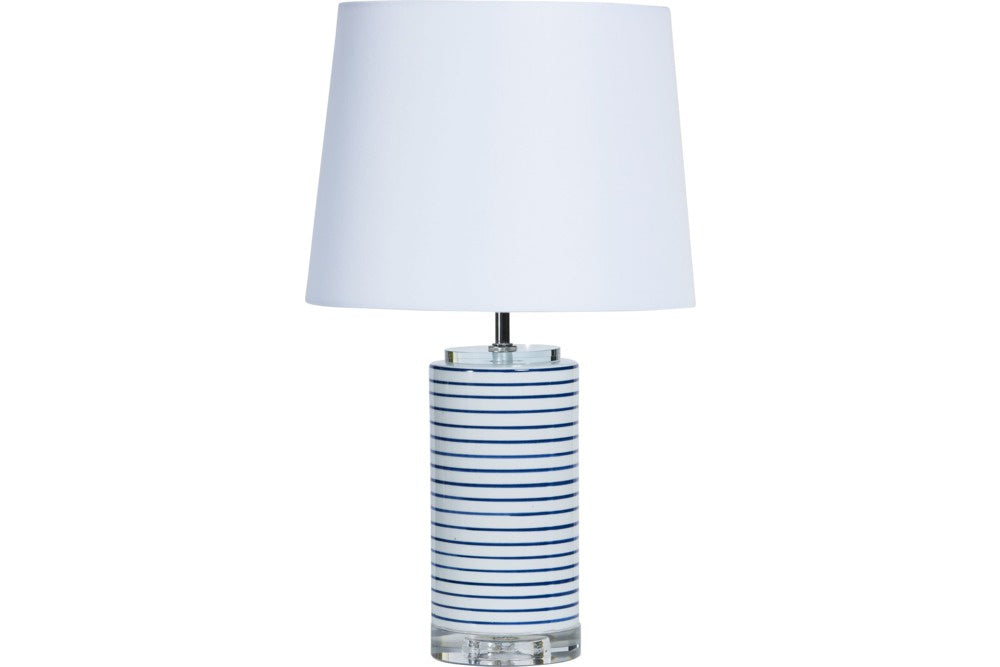 Navy and White Stripe Lamp with White Base