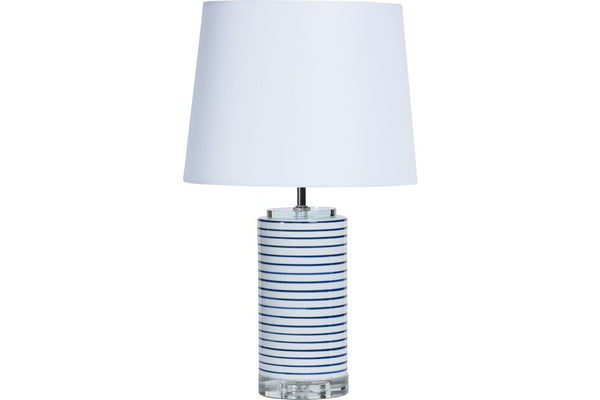 small lamp with navy and white stripe with white shade available at the white place, orange nsw