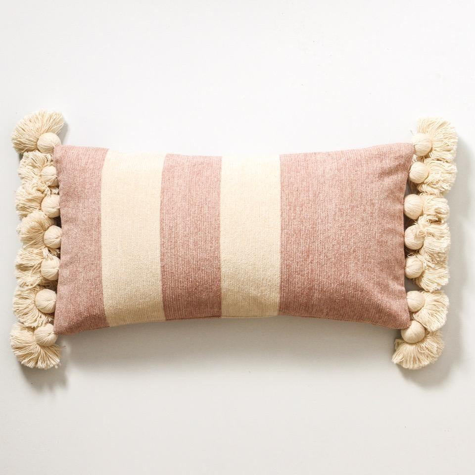 dusty pink stripe cushion from indigo love collectors available at the white place, orange nsw