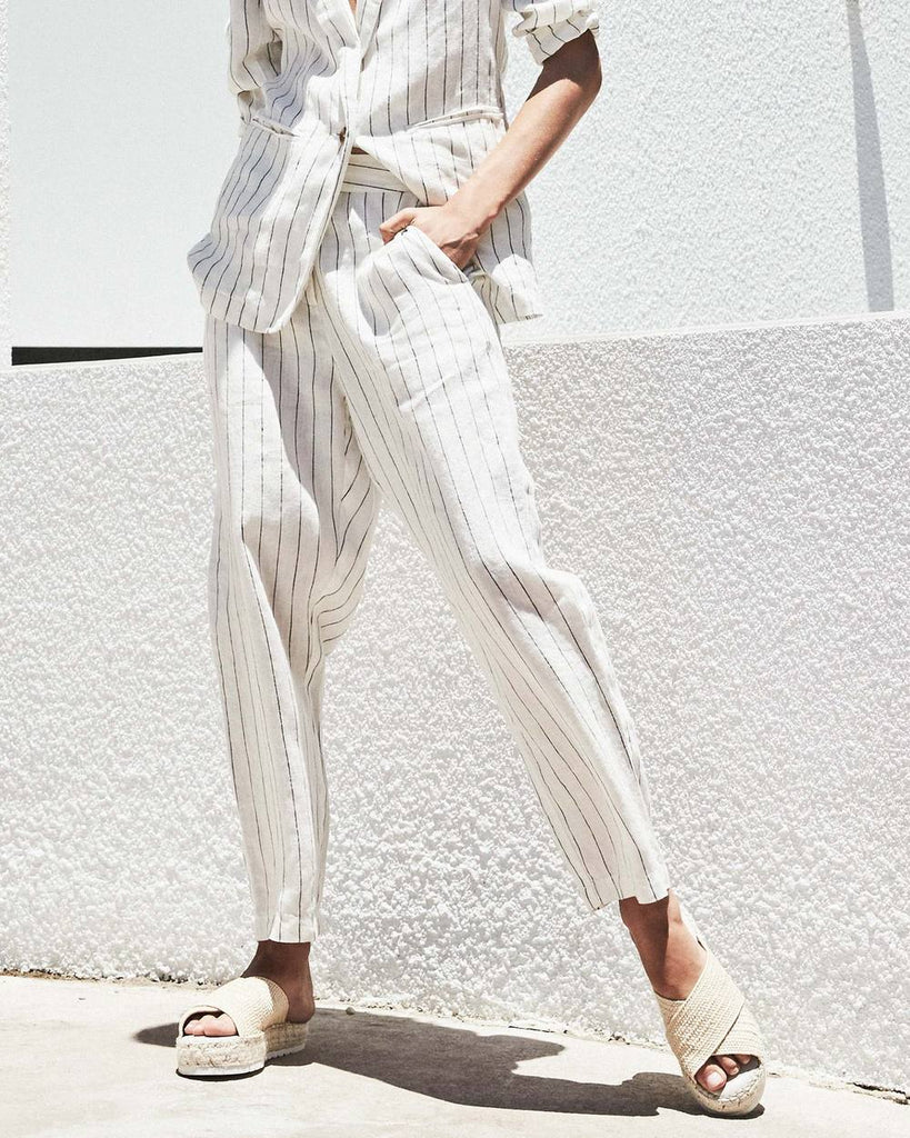 white linen stripe pants - available at the white place, orange nsw.  Free shipping in Australia