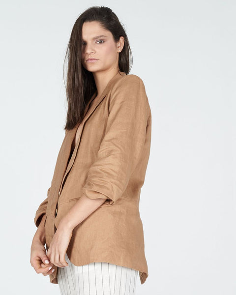 summer linen jacket in cumin - free shipping