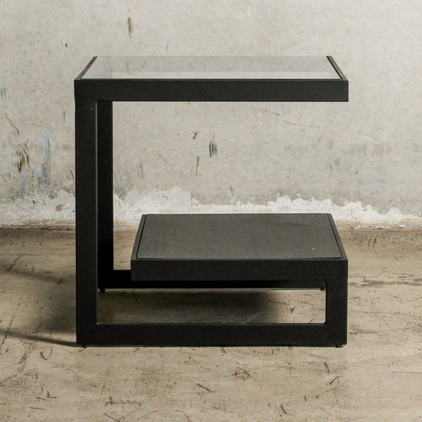 Black side table with shelf and glass top