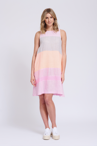 Alessandra linen dress in splice colours - free shipping