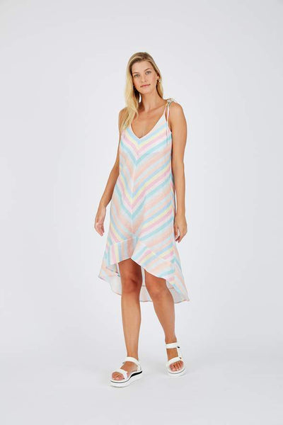Alessandra Leia string linen dress in rainbow linen - free postage