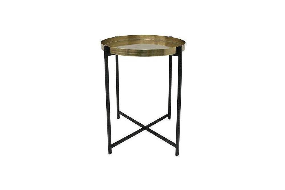 Brass and black side table