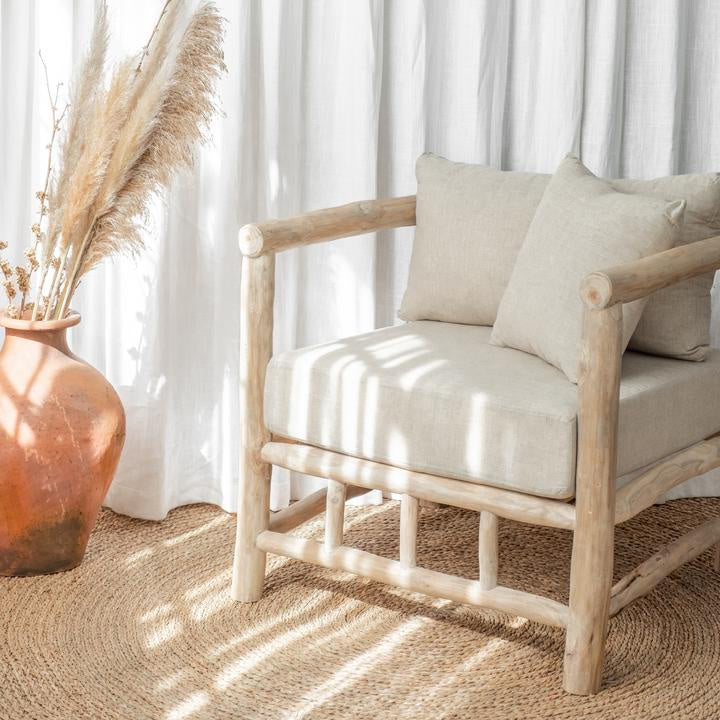 Wallace armchair - teak and linen, available at the white place, orange