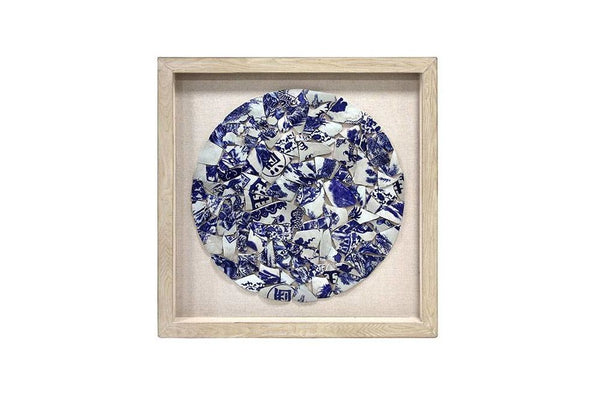HK Living natural wood frame with smashed blue and white porcelain circle. Available for sale at the white place, orange nsw