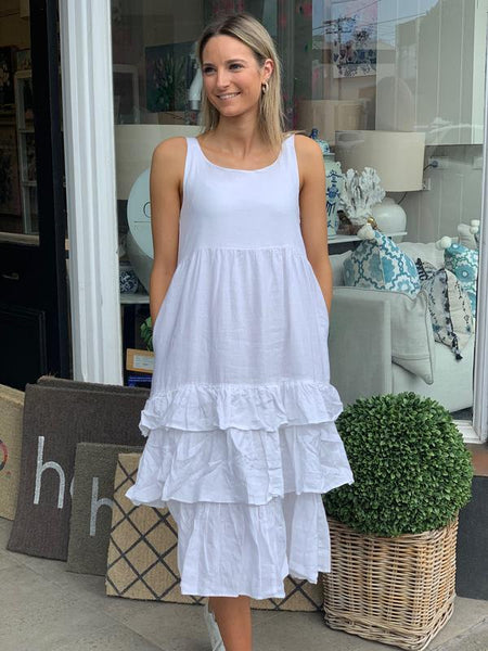 white linen ra ra alessandra dress - available at the white place.