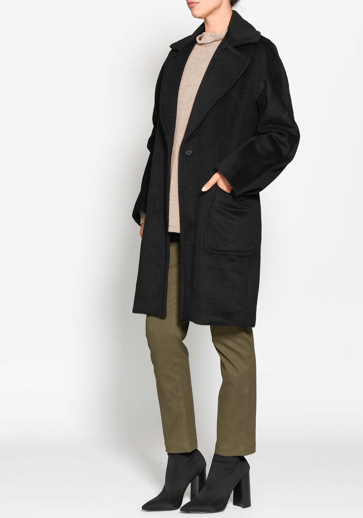 black wool coat - available at the white place, orange nsw