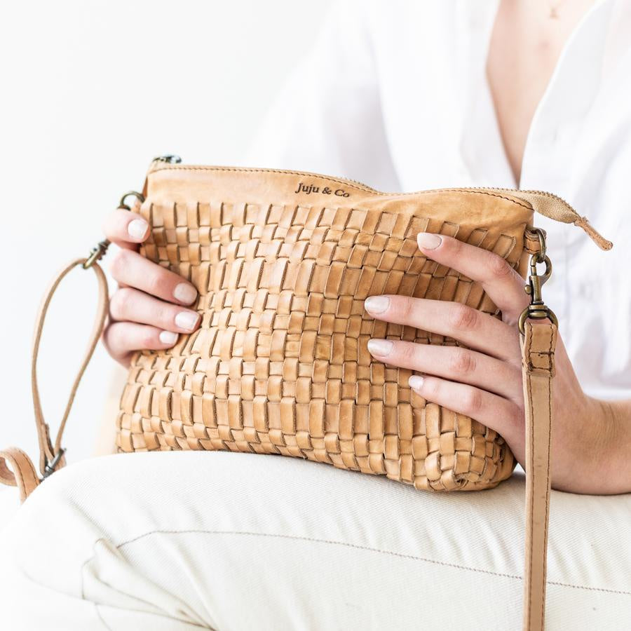 Juju and Co woven pouch in natural - free shipping