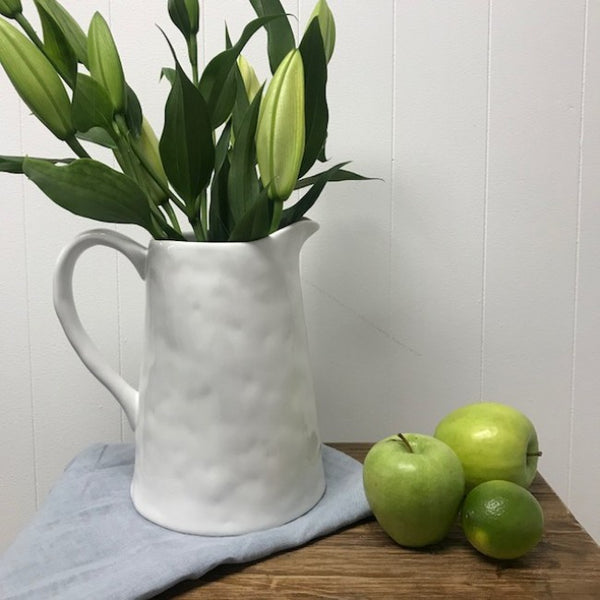 white jug, 20cm heigh, available at the white place, orange nsw