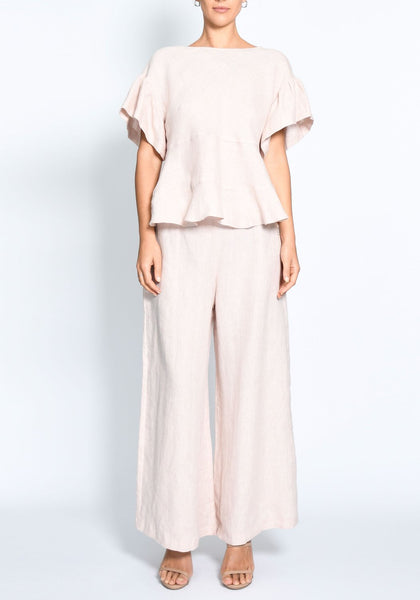 Pol Clothing 100% linen mohave ruffle top in blush - available at the white place, orange nsw. free shipping in australia