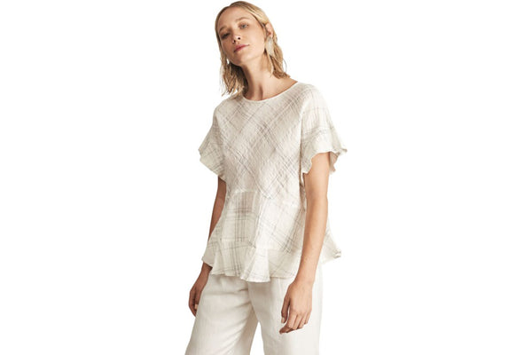 Pol clothing lattice top - white. Free shipping in Australia