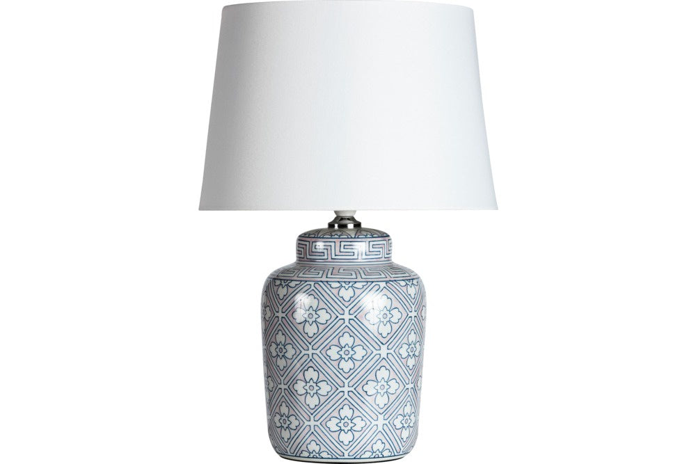 small pink and blue lamp