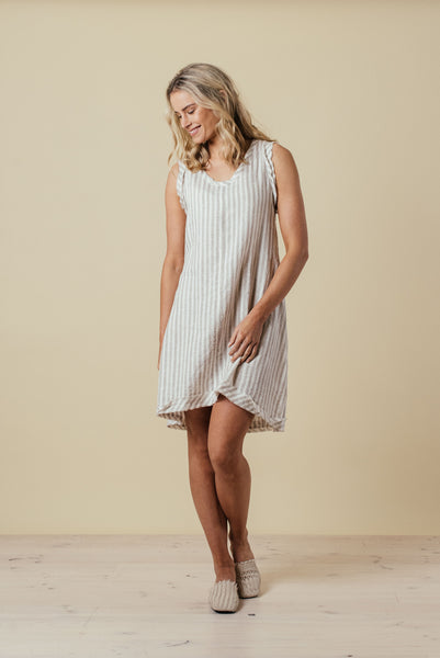 100% linen stripe dress, available at the white place - free shipping