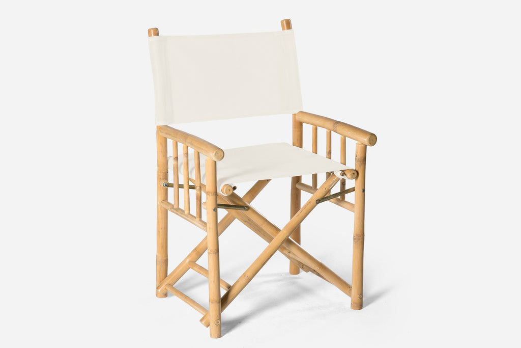 White Bamboo Directors Chair Available For Hire Orange Nsw The White Place