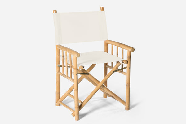 white bamboo directors chair available for hire in orange nsw from the white place lifestyle and events, central west nsw
