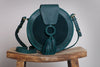 Harlequin Leather Round Bag forest green - free shipping in australia