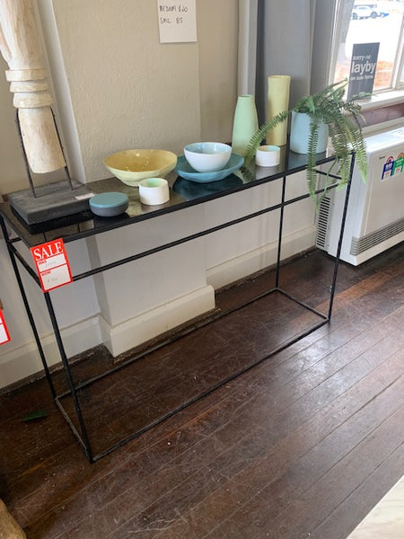 glass top hallway table