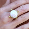 brass and gold pearl ring - available at the white place, orange nsw