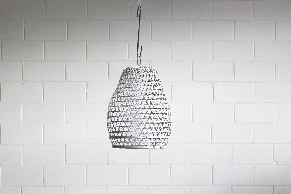 small painted white rattan pendant lights available for hire to decorate marquees for weddings, celebrations or events. available for hire in orange, dubbo, bathurst and throughout the central west