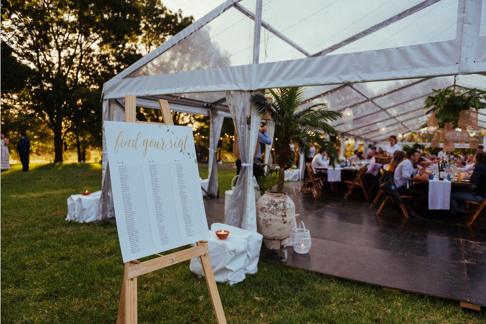 freestanding wooden easel - perfect for use for events, weddings for large table settings, menus or announcements. available for hire in orange, dubbo and central west from the white place lifestyle and events