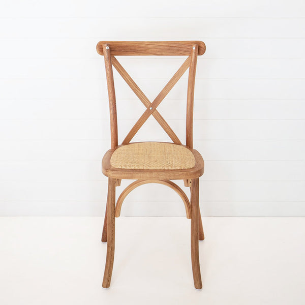 oak cross back chair available for hire from the white place lifestyle and events, orange nsw