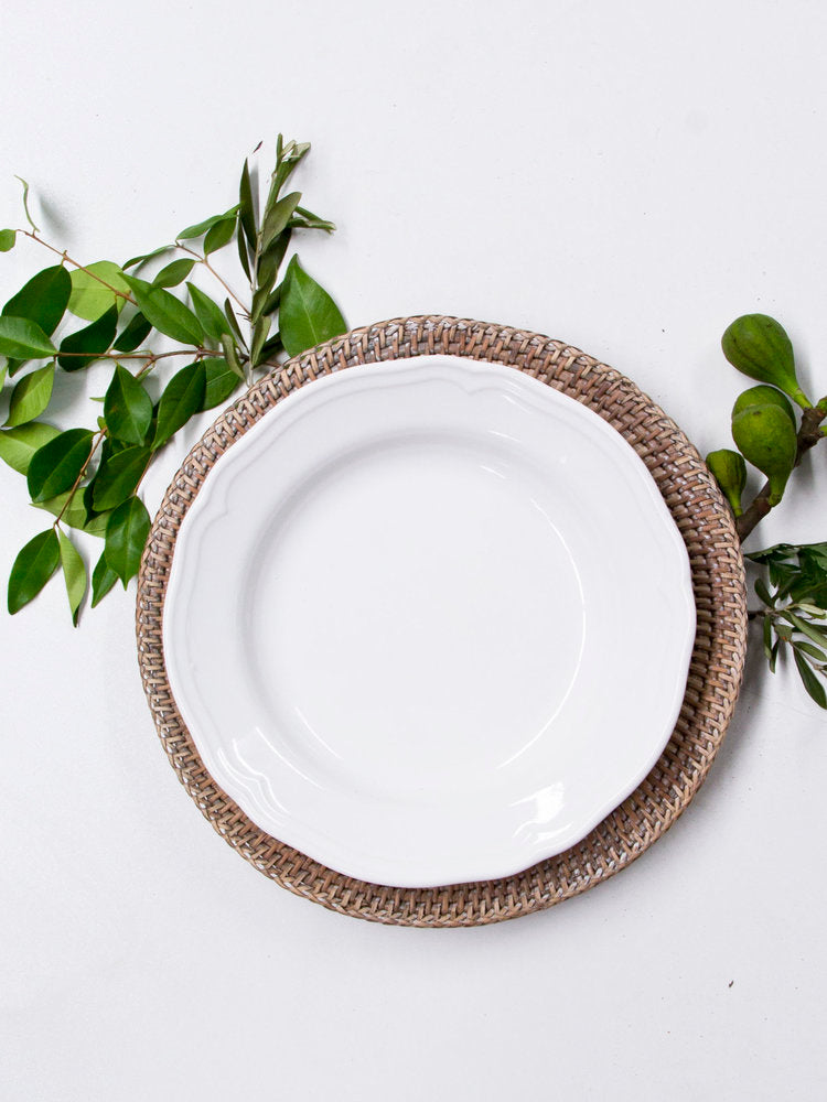 rattan charger plate available for hire in central west nsw, including orange, dubbo, bathurst and mudgee