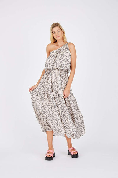 One shoulder Alessandra Linen animal print dress - free shipping