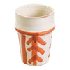 Luna pottery cups in orange and black, available at the white place, orange nsw