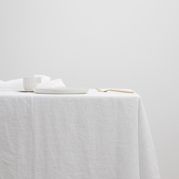 White linen table cloth