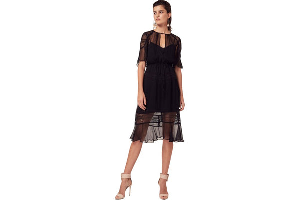 Boldt cape sleeve lace insert midi