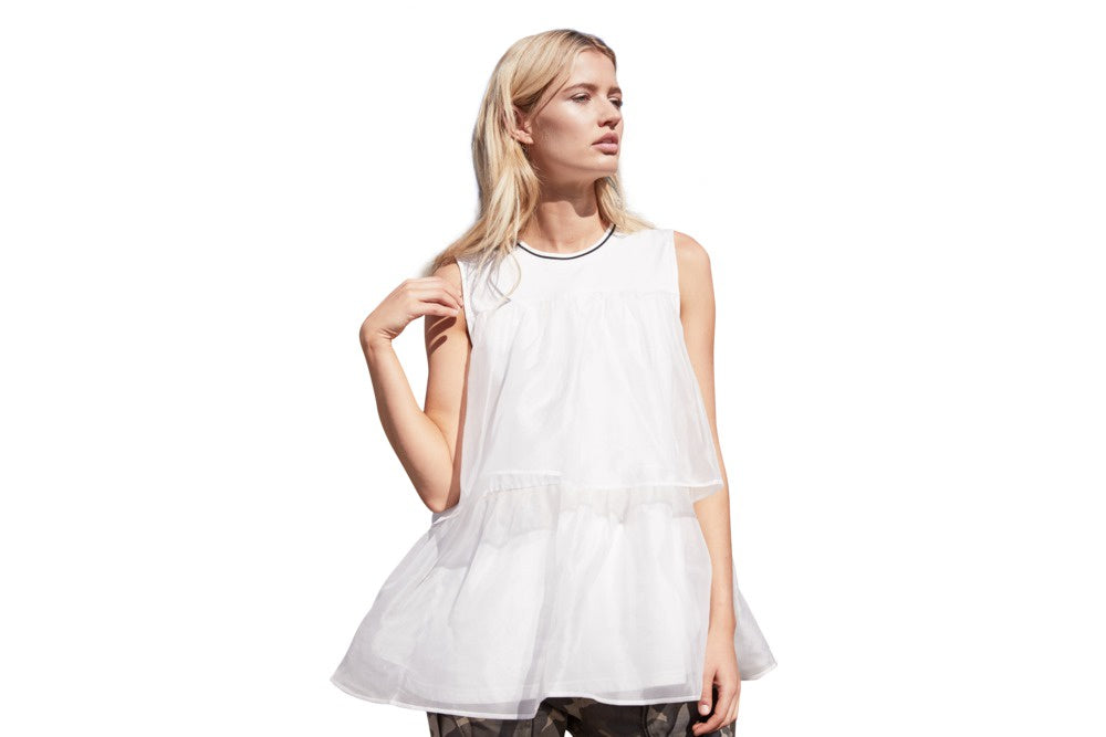 M. A Dainty Angel white top with black trim. available at the white place, orange nsw - free shipping within australia