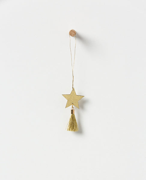 Holiday hanging gold star with tassel