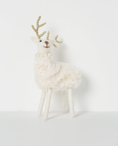 Noir standing reindeer with pearls - white