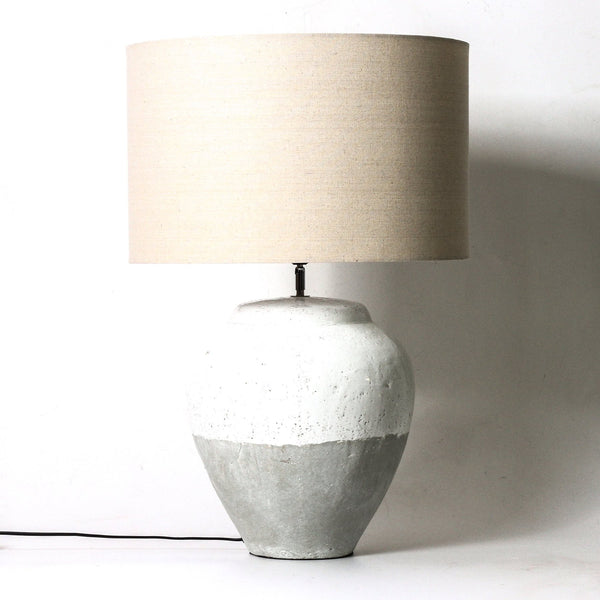 Concrete and white lamp with natural shade