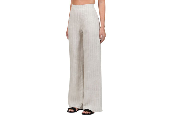 chalice clothing natural linen with black pin stripe wide leg pant available from the white place, orange nsw -  free shipping in australia