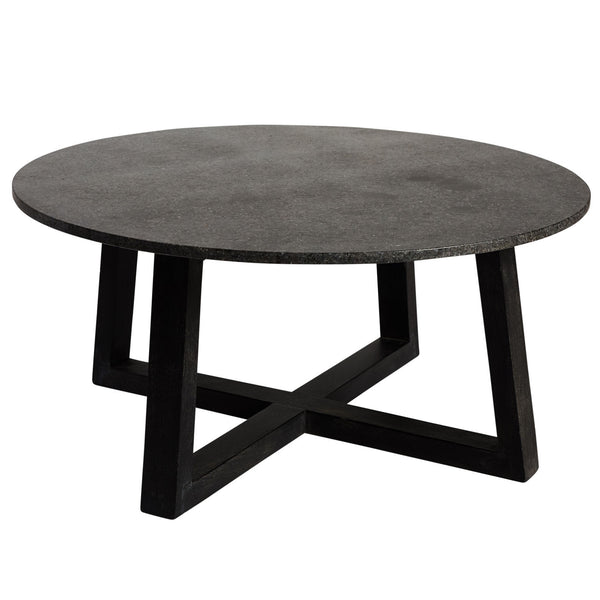 black round coffee table, regency coffee table from canvas & sasson - available at the white place, orange