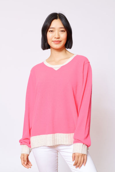 Alessandra boyfriend sweater in electric pink - available at The White Place